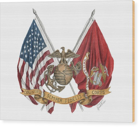 Semper Fidelis Crossed Flags Wood Print