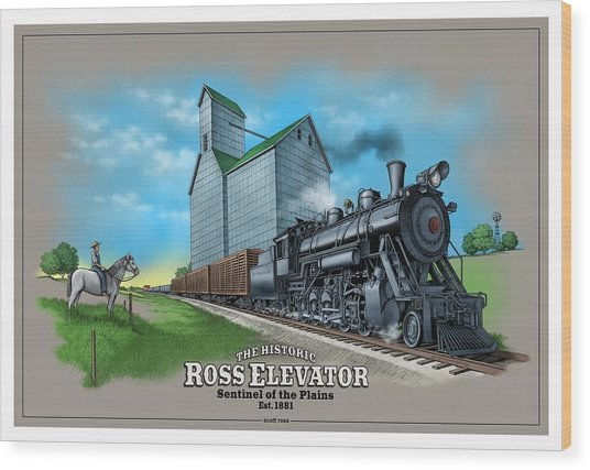 The Ross Elevator Sentinel Of The Plains Wood Print
