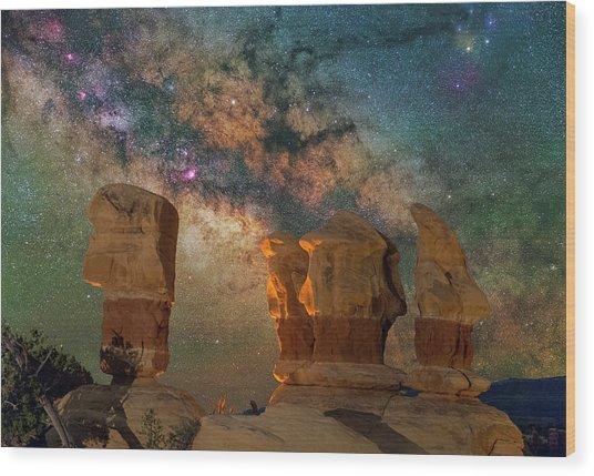 Sentinels Of The Night Wood Print