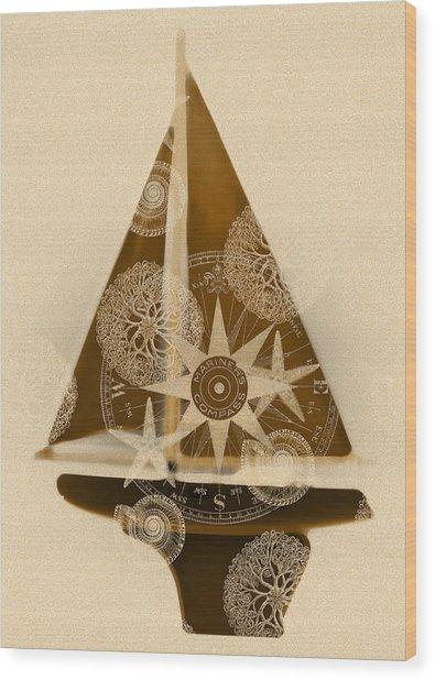Sepia Boat Wood Print by Frank Tschakert