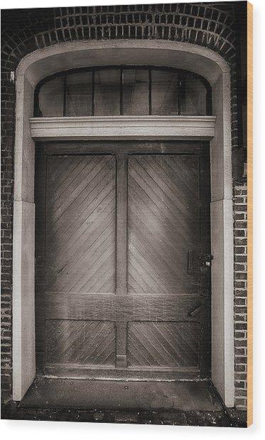 Sepia Doorway Wood Print