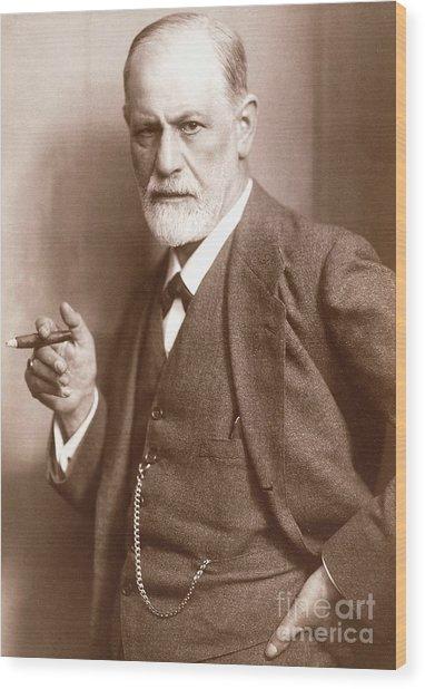 Sepia Photograph Of Sigmund Freud, Circa 1921  Wood Print