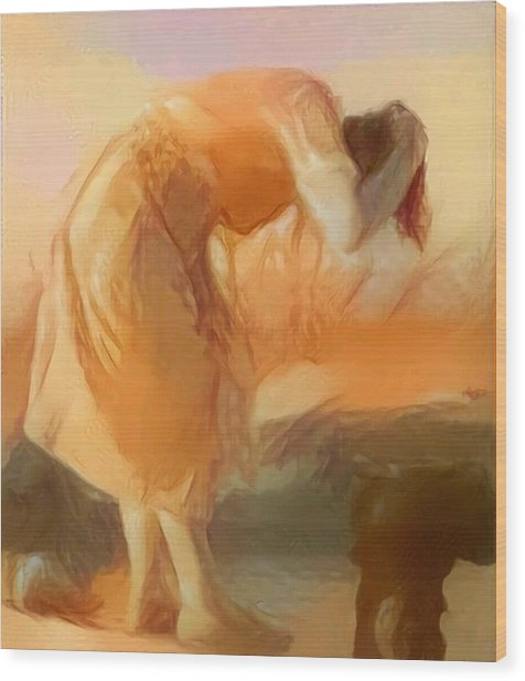 Sepia Sketch Life Drawing Woman Cleaning Hair Bent Over Washing Lake Old Wood Print by MendyZ