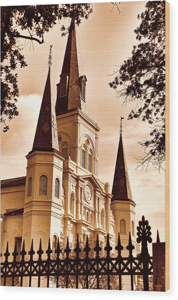Sepia St. Louis Cathedral Wood Print