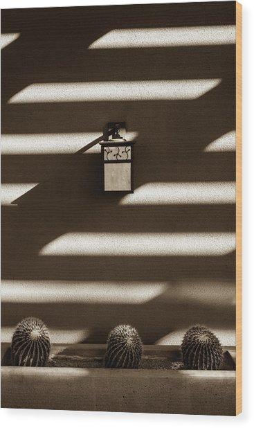 Sepia Stucco Shadows Wood Print
