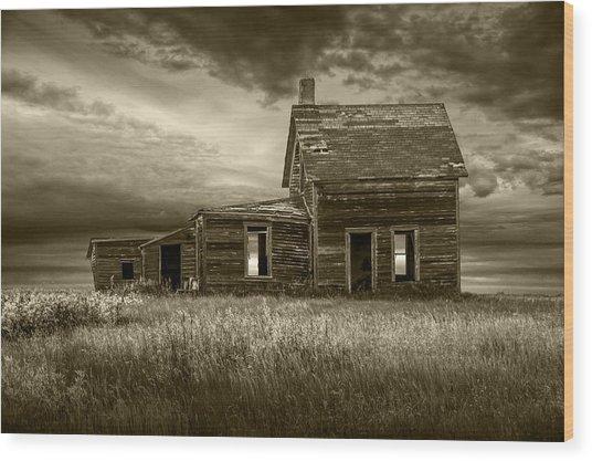 Sepia Tone Of Abandoned Prairie Farm House Wood Print