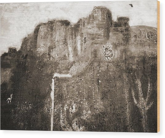 Sepia Version Of Mesa Painting Wood Print by Anne-Elizabeth Whiteway