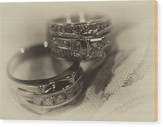 Sepia Wedding Ring Example Wood Print by David Patterson