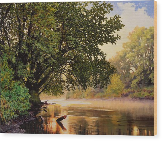 September Dawn, Little Sioux River - Studio Painting Wood Print