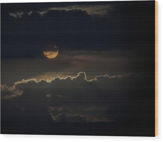 September Moon Wood Print