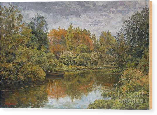 September. On The River Wood Print by Andrey Soldatenko