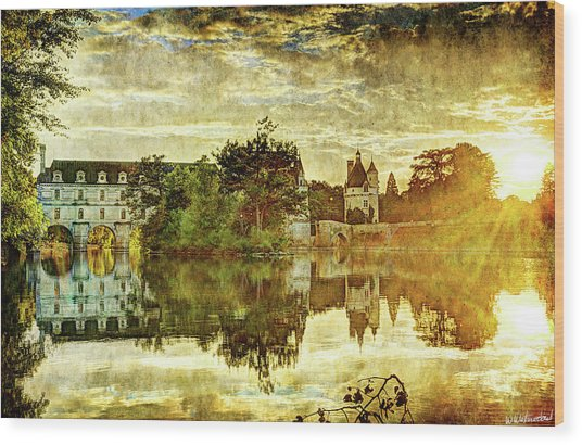September Sunset In Chenonceau - Vintage Version Wood Print