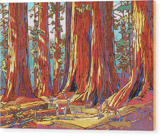 Sequoia Deer Wood Print