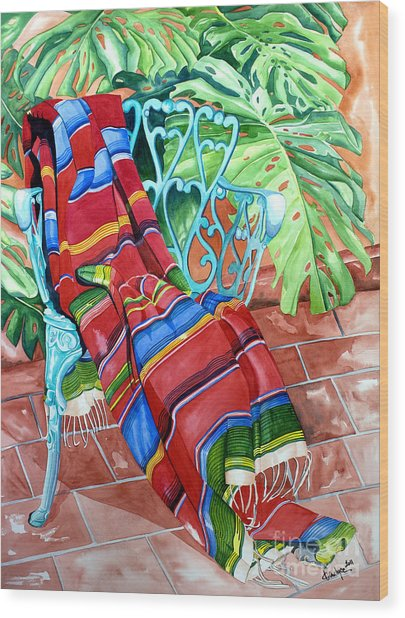 Serape On Wrought Iron Chair I Wood Print