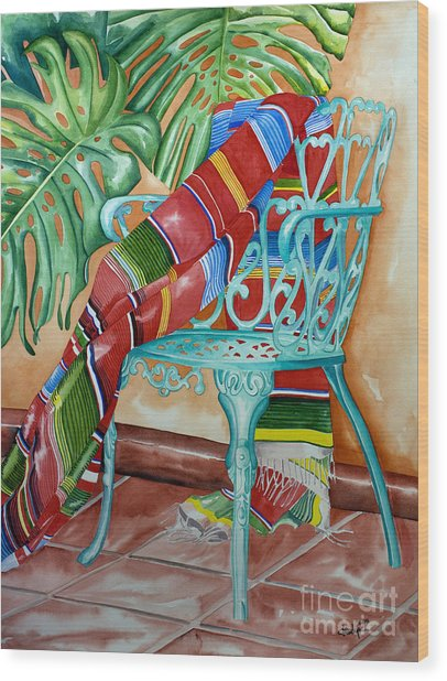 Serape On Wrought Iron Chair II Wood Print