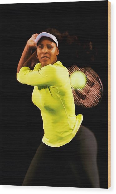 Serena Williams Bamm Wood Print