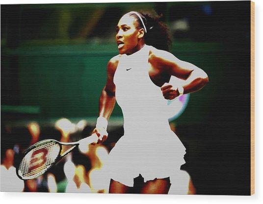 Serena Williams Making History Wood Print