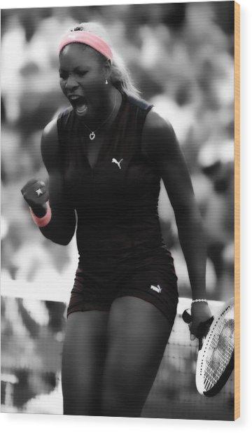 Serena Williams On Fire Wood Print