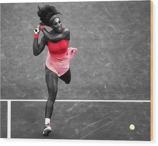 Serena Williams Strong Return Wood Print