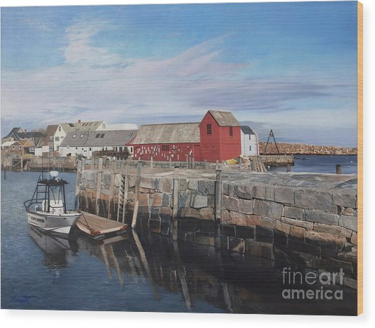 Serene Afternoon At Rockport Harbor    Wood Print