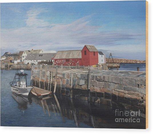 Serene Afternoon At Rockport Harbor    Wood Print