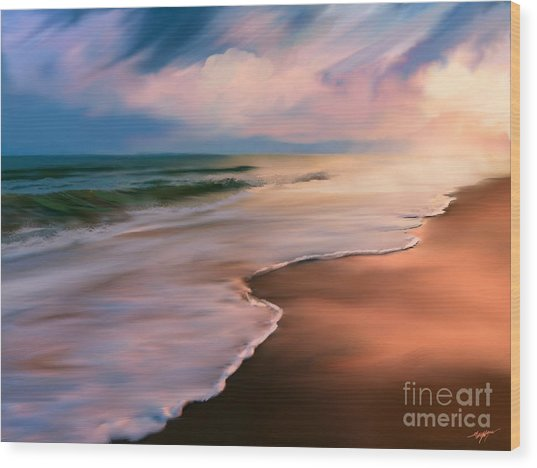 Serene Beach At Sunrise Wood Print