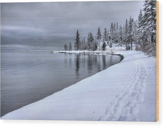Serene Beauty Of Lake Tahoe Winter Wood Print