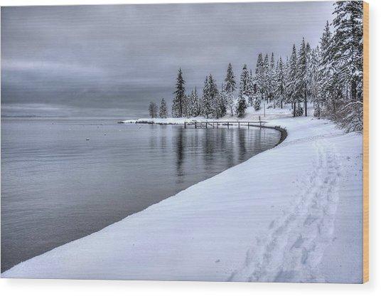 Serene Beauty Of Lake Tahoe Winter Wood Print