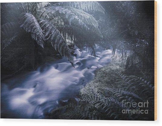 Serene Moonlit River Wood Print