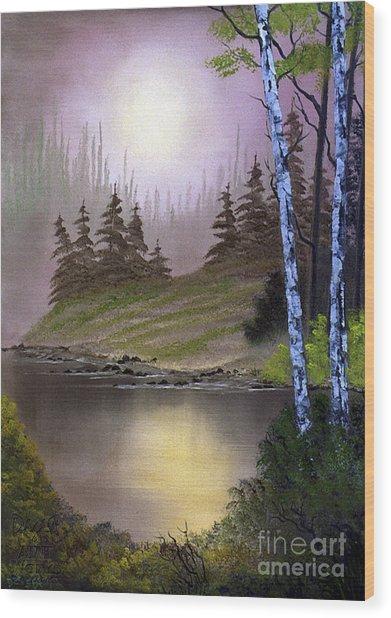 Serene Nightscape Wood Print