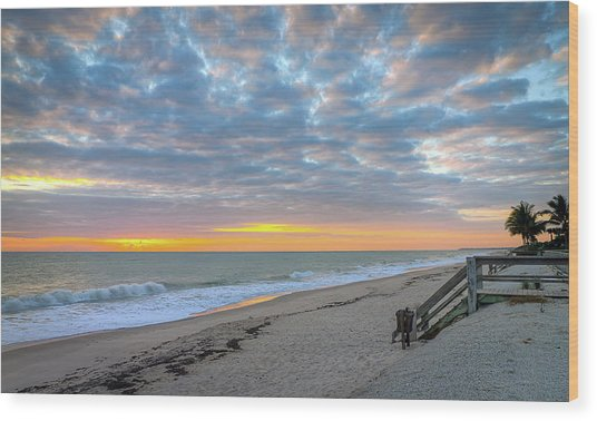 Serene Seascpe Sunrise Wood Print