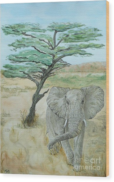Serengeti Elephant Wood Print by Yvonne Johnstone