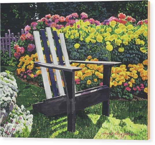 Serenity Among The Hydrangeas Wood Print