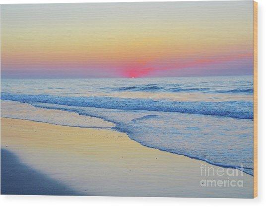 Serenity Beach Sunrise Wood Print