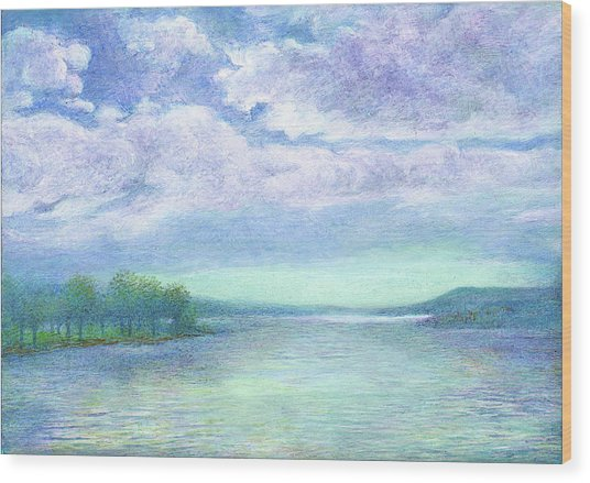 Serenity Blue Lake Wood Print