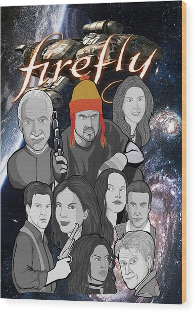 Serenity Firefly Crew Wood Print by Gary Niles
