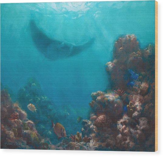 Serenity - Hawaiian Underwater Reef And Manta Ray Wood Print