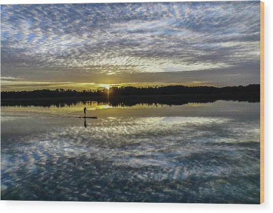 Serenity On A Paddleboard Wood Print