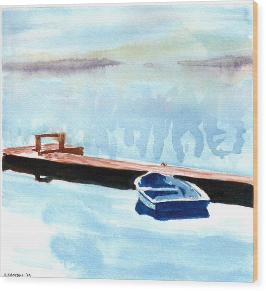 Serenity On The Lake Wood Print by Kerry Hartjen