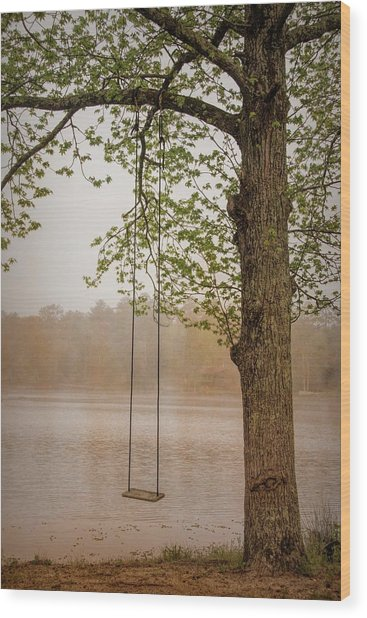 Serenity On The Lake Wood Print