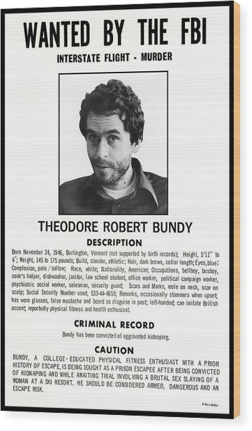 Serial Killer Ted Bundy Wood Print