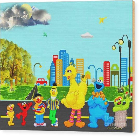 Sesame Street Wood Print