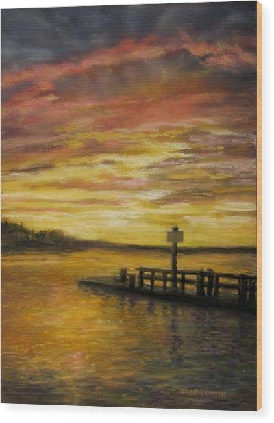 Sesuit Harbor At Sunset Wood Print