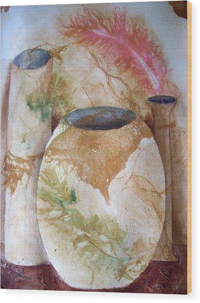 Set Of Vases Wood Print
