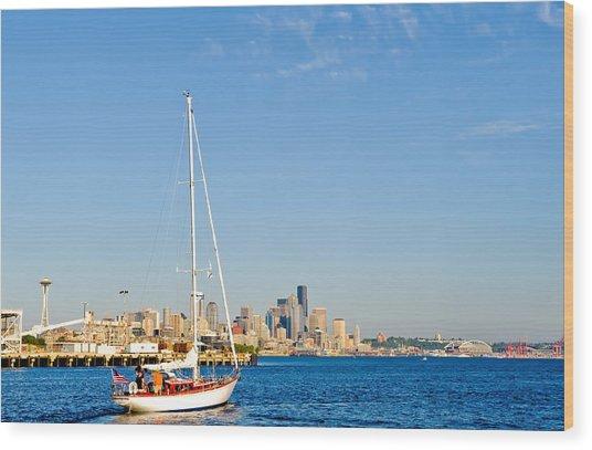Set Sail Seattle Wood Print by Tom Dowd