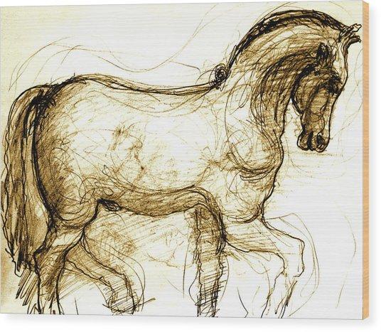 Set The Stallion Free Wood Print by Dan Earle