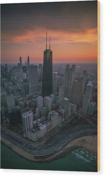 Setting On Chicago Wood Print