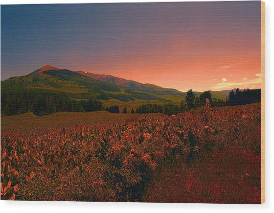 Setting Sun In Crested Butte Wood Print