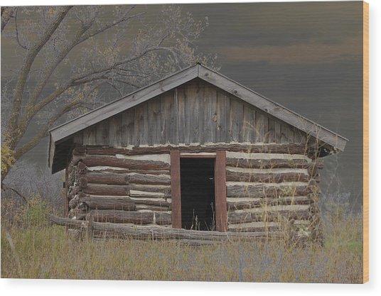 Settler Cabin Wood Print by Ralph Steinhauer