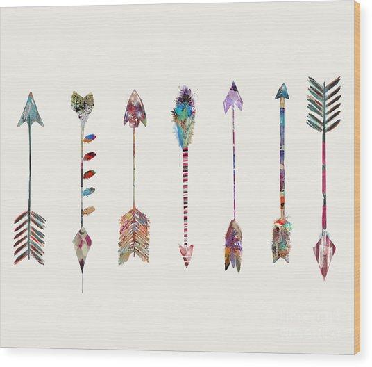 Seven Little Arrows Wood Print